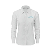 Ladies White Oxford Shirt-Arched Islanders