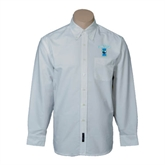 Mens White Oxford Long Sleeve Shirt-Islanders w/I