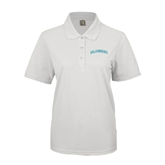 Ladies Easycare White Pique Polo-Arched Islanders