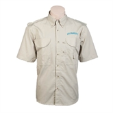 Khaki Short Sleeve Performance Fishing Shirt-Arched Islanders