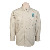 Khaki Long Sleeve Performance Fishing Shirt-Islanders w/I