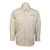Khaki Long Sleeve Performance Fishing Shirt-Arched Islanders