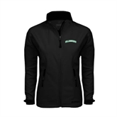 Ladies Black Softshell Jacket-Arched Islanders
