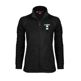 Ladies Fleece Full Zip Black Jacket-Islanders w/I