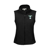 Ladies Fleece Full Zip Black Vest-Islanders w/I