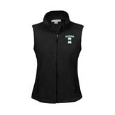 Ladies Fleece Full Zip Black Vest-Islanders w/I