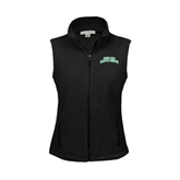 Ladies Fleece Full Zip Black Vest-Arched Texas A&M Corpus Christi