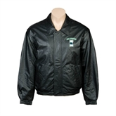Black Leather Bomber Jacket-Islanders w/I