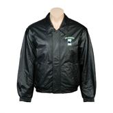 Black Leather Bomber Jacket-Islanders w/I