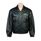 Black Leather Bomber Jacket-Arched Texas A&M Corpus Christi