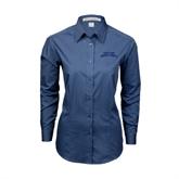 Ladies Deep Blue Tonal Pattern Long Sleeve Shirt-Arched Texas A&M Corpus Christi