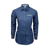 Ladies Deep Blue Tonal Pattern Long Sleeve Shirt-Arched Islanders