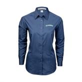 Ladies Deep Blue Tonal Pattern Long Sleeve Shirt-Arched Islanders