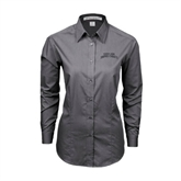 Ladies Grey Tonal Pattern Long Sleeve Shirt-Arched Texas A&M Corpus Christi