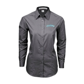 Ladies Grey Tonal Pattern Long Sleeve Shirt-Arched Islanders
