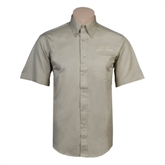 Khaki Twill Button Down Short Sleeve-Arched Texas A&M Corpus Christi