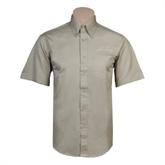 Khaki Twill Button Down Short Sleeve-Arched Texas A&M Corpus Christi