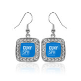 Crystal Studded Square Pendant Silver Dangle Earrings-CUNY SPH Square