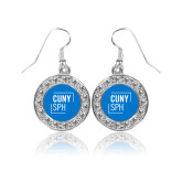 Crystal Studded Round Pendant Silver Dangle Earrings-CUNY SPH Square