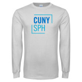 White Long Sleeve T Shirt-CUNY SPH Square