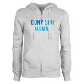 ENZA Ladies White Fleece Full Zip Hoodie-Alumni