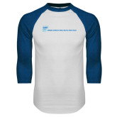 White/Royal Raglan Baseball T Shirt-CUNY SPH Flat