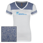 Ladies White/Heathered Royal Juniors Varsity V Neck Tee-Primary Mark
