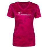 Ladies Pink Raspberry Camohex Performance Tee-Primary Mark