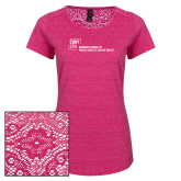 Ladies Dark Fuchsia Heather Lace Tee-Primary Mark