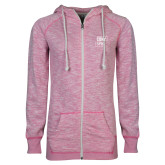 ENZA Ladies Hot Pink Marled Full Zip Hoodie-CUNY SPH Square