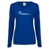 Ladies Royal Long Sleeve V Neck Tee-Primary Mark