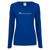 Ladies Royal Long Sleeve V Neck Tee-CUNY SPH Flat