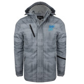 Grey Brushstroke Print Insulated Jacket-CUNY SPH Square