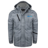 Grey Brushstroke Print Insulated Jacket-CUNY SPH