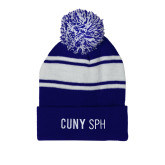 Royal/White Two Tone Knit Pom Beanie w/Cuff-CUNY SPH