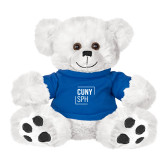 Plush Big Paw 8 1/2 inch White Bear w/Royal Shirt-CUNY SPH Square