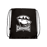 Nylon Black Drawstring Backpack-Charlotte Checkers - Offical Logo
