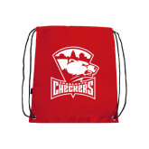 Nylon Red Drawstring Backpack-Charlotte Checkers - Offical Logo