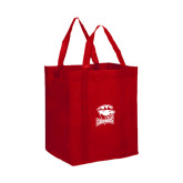 Non Woven Red Grocery Tote-Charlotte Checkers - Offical Logo