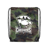 Nylon Camo Drawstring Backpack-Charlotte Checkers - Offical Logo