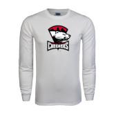 White Long Sleeve T Shirt-Charlotte Checkers - Offical Logo