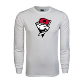 White Long Sleeve T Shirt-Bear Head w/ Flag