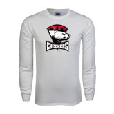 White Long Sleeve T Shirt-Charlotte Checkers - Offical Logo Distressed