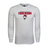 White Long Sleeve T Shirt-Charlotte Checkers Stacked w Flag logo