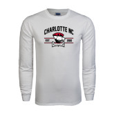 White Long Sleeve T Shirt-Arched Charlotte NC Est 2010 Stacked