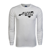 White Long Sleeve T Shirt-Charlotte Checkers Hockey in State