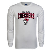White Long Sleeve T Shirt-Charlotte Checkers Stacked Design