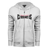 ENZA Ladies White Fleece Full Zip Hoodie-Charlotte Checkers