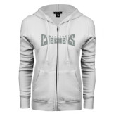 ENZA Ladies White Fleece Full Zip Hoodie-Charlotte Checkers Silver Soft Glitter