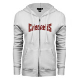 ENZA Ladies White Fleece Full Zip Hoodie-Charlotte Checkers Red Glitter
